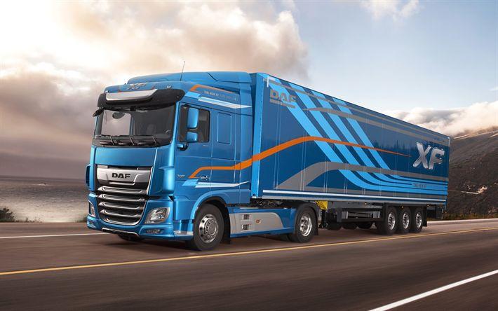 Télécharger fonds d'écran DAF XF, 450 FT, 2017, camion, 4k, l'espace de la cabine, de la route, DAF