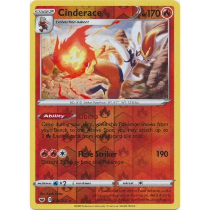Cinderace 034202 rare reverse holo pokemon card sword