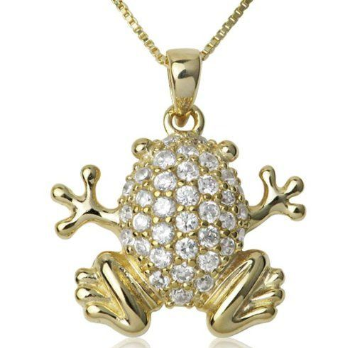 18k Gold Over Sterling Silver and Cubic Zirconia Embellished Frog Pendant Joolwe. $29.99. Save 61% Off!