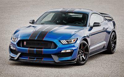 壁紙をダウンロードする チューニング, gt350r, スポーツカー, 2016年, フォードマスタング, シェルビ, 青いマスタング