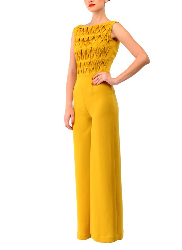 Indian Fashion Designers - Swatee Singh - Contemporary Indian Designer Clothes - Jumpsuits - SWS-AW14-SSJ-42 - Rombo Textured Jumpsuit
