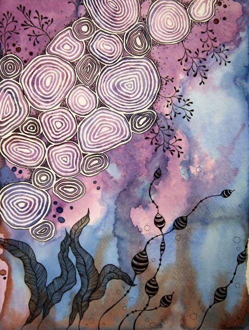 Michael Coates: Cloud Flowers, Watercolor, Doodle Zentangle