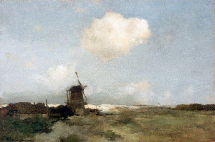 Hendrik Johannes 'J.H.' Weissenbruch (Den Haag 1824-1903) Molen aan de duinrand - Kunsthandel Simonis en Buunk, Ede (Nederland).