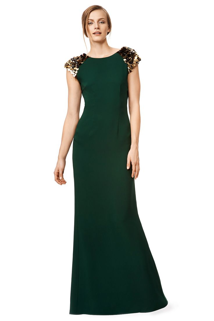 Emerald Green Dress with Gold Sequin Cap Sleeves