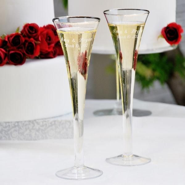 Trumpet Toasting Flute Set Made Of Clear Hand Blown Glass They Feature A Round