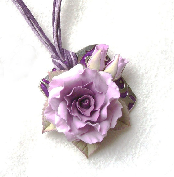 "Polymer clay jewelry soft pink rose barrette ""My sweet dream"". Made to order"