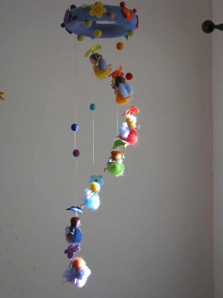 waldorf inspired Rainbow fairies needle felted mobile ready to ship. $175.00, via Etsy.