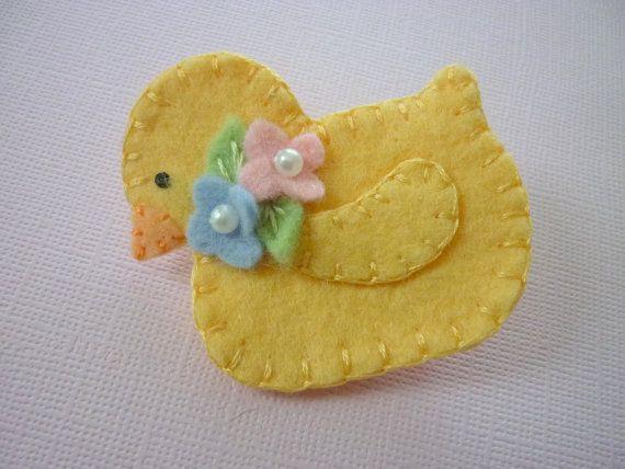 Felt Brooch Yellow Duck Bead Spring Flowers Felted Wool. $12.50, via Etsy.