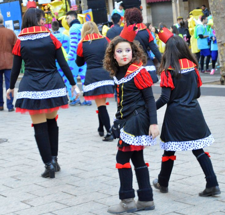 Girls dressed in Carnaval parade costume in Reus, Spain. These girls were on their way to the float they would later march with.