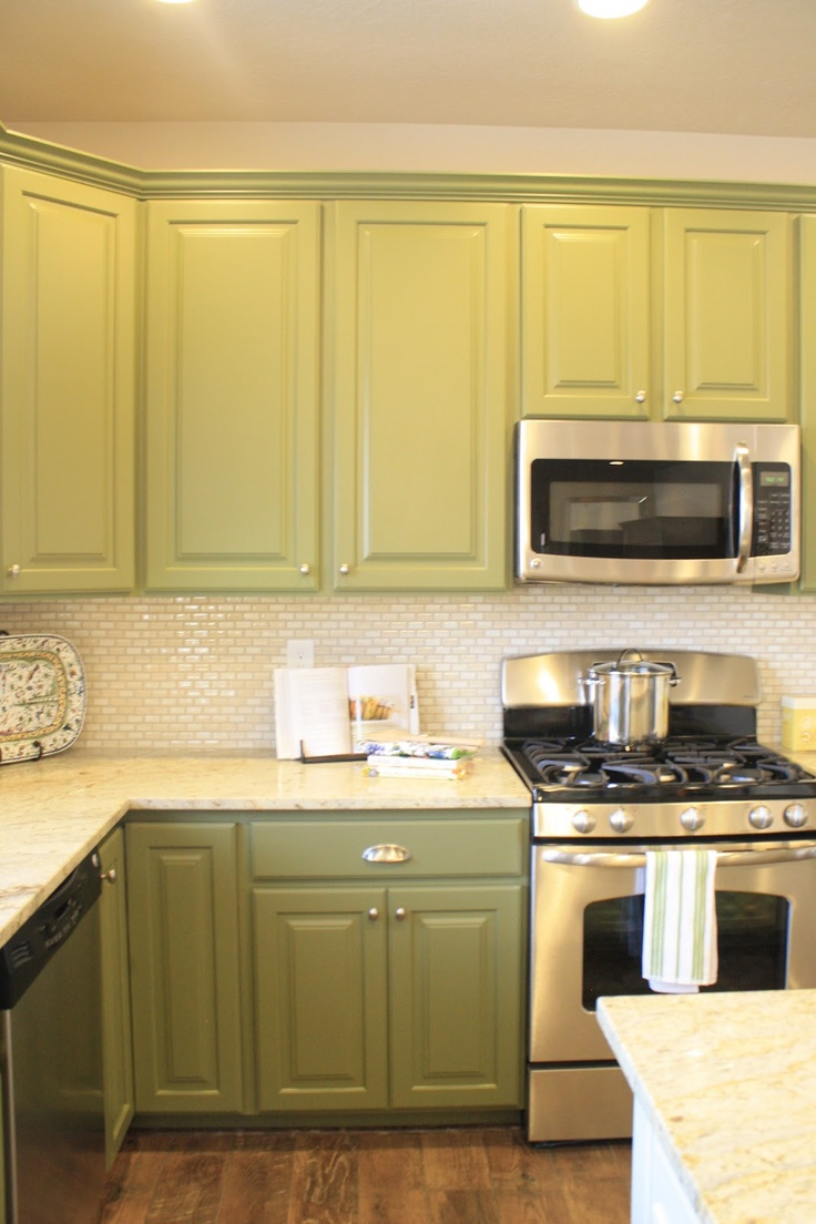 green cabinets & backsplash