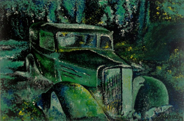 sleeping car green classic car reckless abandoned car in the forest Aphrodite Kyriazi