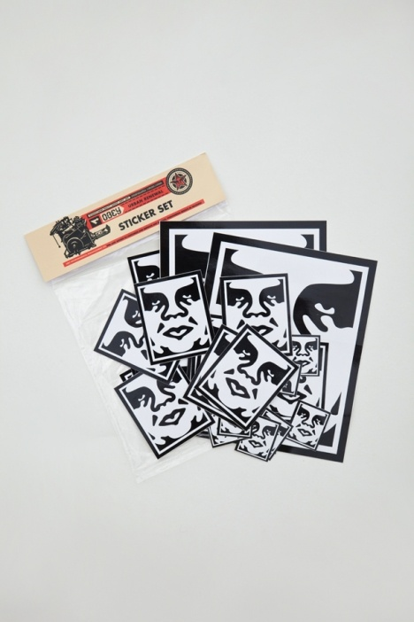 The andre face icon sticker pack from obey features assorted sized stickers for the obey fiends spread it
