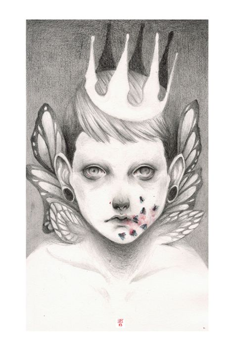 Unknown whispers. Sketchbook, graphite, watercolor 2013 by Paulette Jo