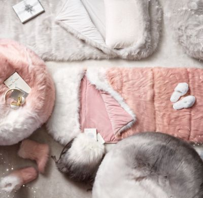 2d760573618 RH TEEN s Ombr  233  Kashmir Faux Fur Bean Bag - Dusty Rose Fade in.  Distinctive ombr  233  dying   8211  with its graded shades from light to  dark   8211  ...