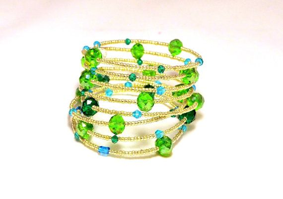 Silver Tone  Czech Glass and Green Swarovski Crystal by LEMemories