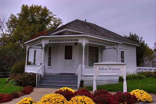 John Wayne Birthplace, Winterset, Iowa. John Wayne was born as Marion Robert Morrison in Winterset, Iowa on May 26, 1907. Wayne's family moved to Palmdale, California and then to Glendale, California in 1911.