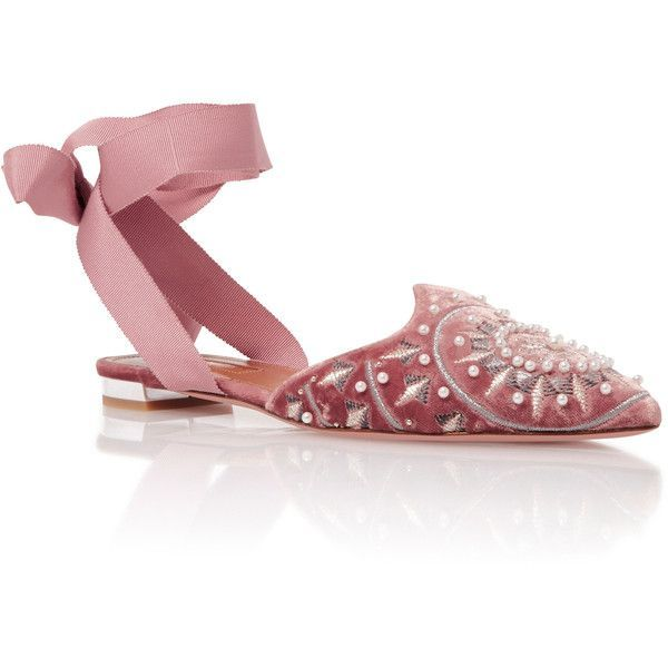 Aquazzura Stellar Embellished Lace-Up Flats (44.740 RUB) ❤ liked on Polyvore featuring shoes, flats, pink, pink flats, embellished flats, laced flats, lace up flats and flat pumps