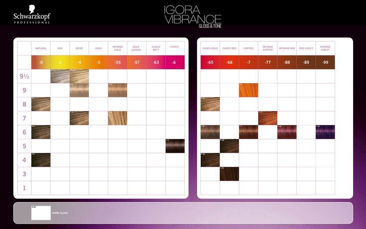 Schwarzkopf Professional IGORA Vibrance Gloss Amp Tone Color Chart 2014