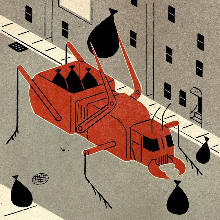 "Illustration for the article ""Bugs in Manhattan Compete with Rats for Food Refuse"" Peter Morance A.D."