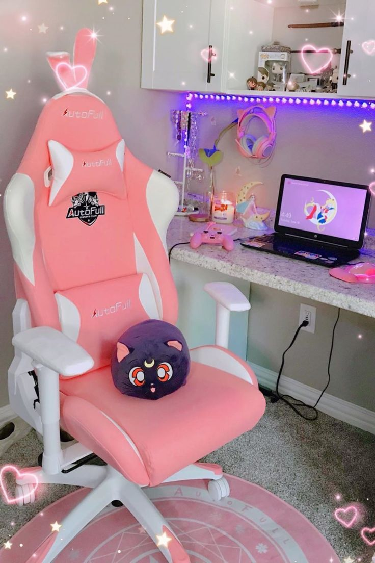 Autofull pink gaming chair with bunny gaming chair