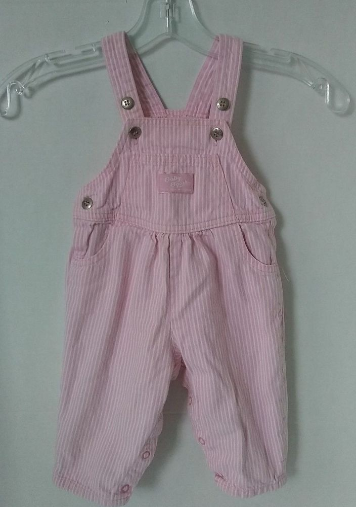 6fa4e8606 Vtg Baby Girl Oshkosh Bib Overalls Pink Railroad Hickory Stripe ...