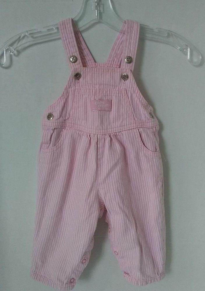 5c33c39fa302 Vtg Baby Girl Oshkosh Bib Overalls Pink Railroad Hickory Stripe ...