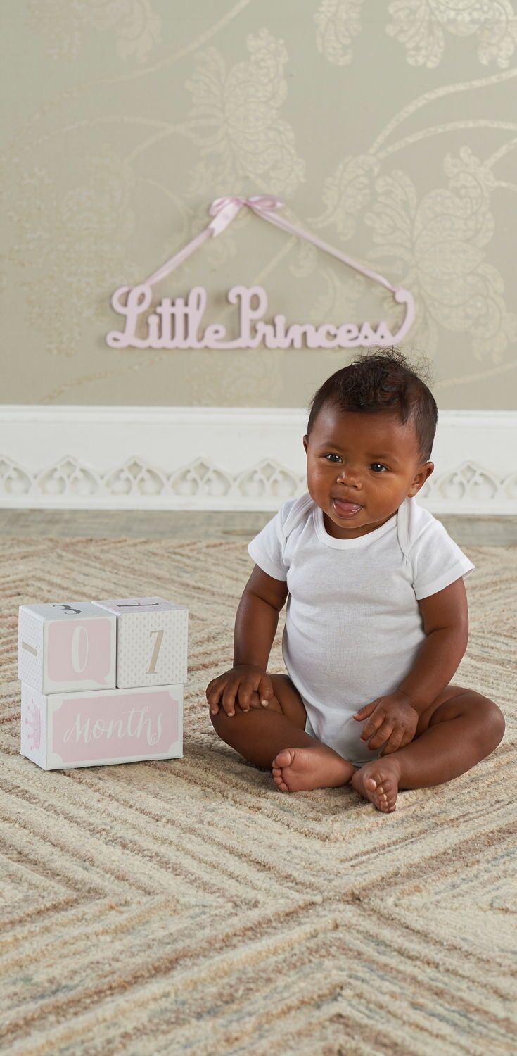 My First Milestone Little Princess Baby Age Blocks With Images Baby Age Blocks Baby Princess Baby Girl Gifts