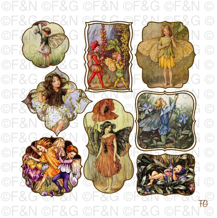 Cicely Mary Barker Flower Fairies - Digital TAGS/Labels, Digital Graphics, Craft, Scrapbooking, Cards - Pack 2 di TheEmporiumOfWonders su Etsy