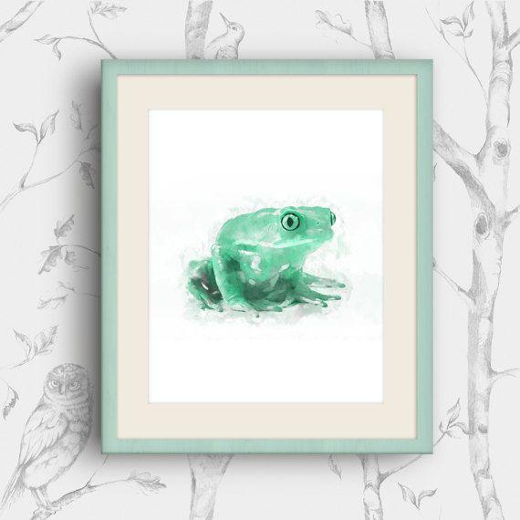 Frog Art Print Frog Nursery Art Watercolor frog by MyGalleryWall
