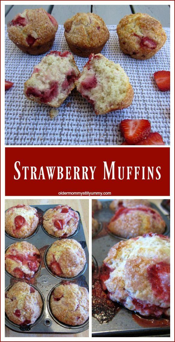 How to Make Strawberry Muffins using fresh, local, luscious, juicy, sweet strawberries. YUM! ~ oldermommystillyummy.com