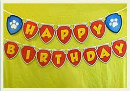 Paw Patrol: Banderines de Happy birthday para Imprimir Gratis.