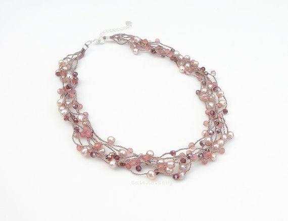 Roze perzik zoetwater parel ketting met steen door CuteActually