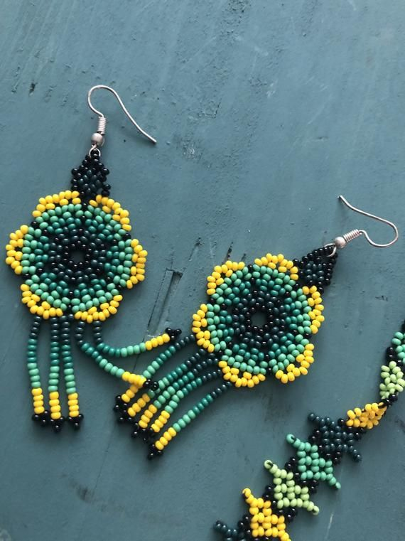 Large glass seed bead yellow color floral earring dangle silver plated hook chaquira