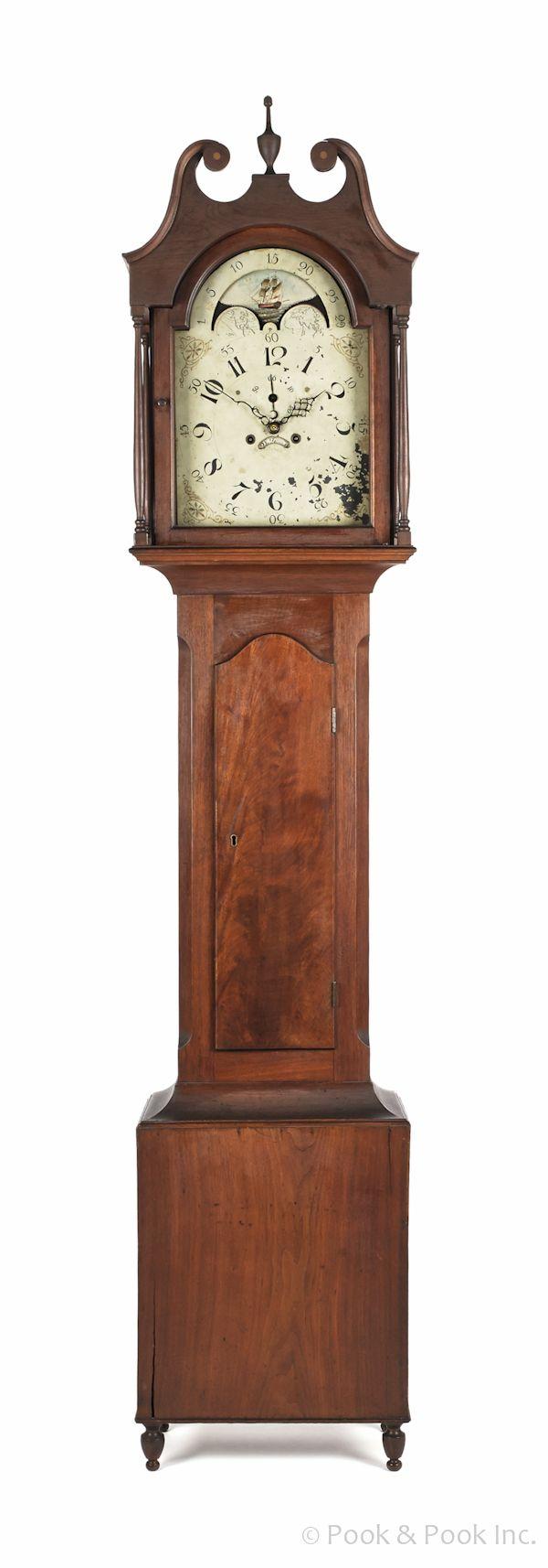 Vintage industrial clock double sided factory clock brilli 233 - Pennsylvania Federal Walnut Tall Case Clock Ca 1810 The Broken Arch Bonnet Enclosing