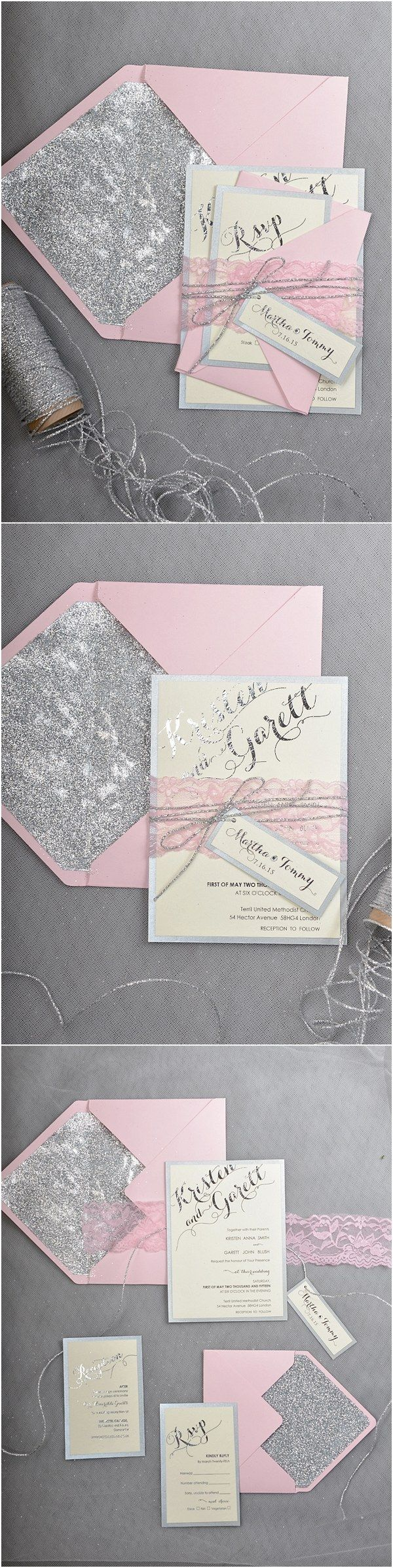 Rustic pink grey wedding invitations @4LOVEPolkaDots