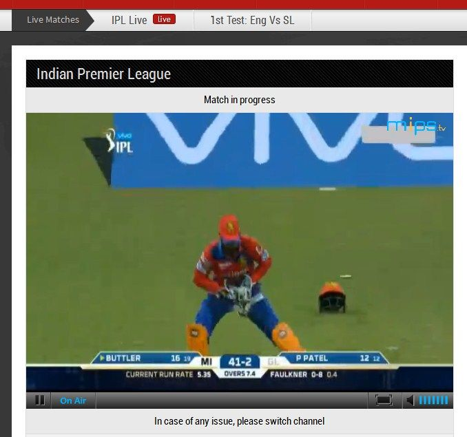 Cricket Streaming Page