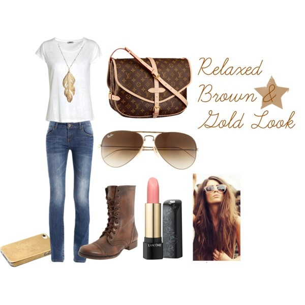 """""""Relaxed Brown & Gold Look :)"""" by kmii-f on Polyvore"""