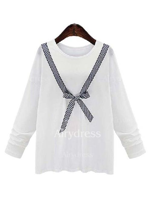 Color Block Casual Cotton Polyester Round Neckline Long Sleeve Blouses (1039135) @