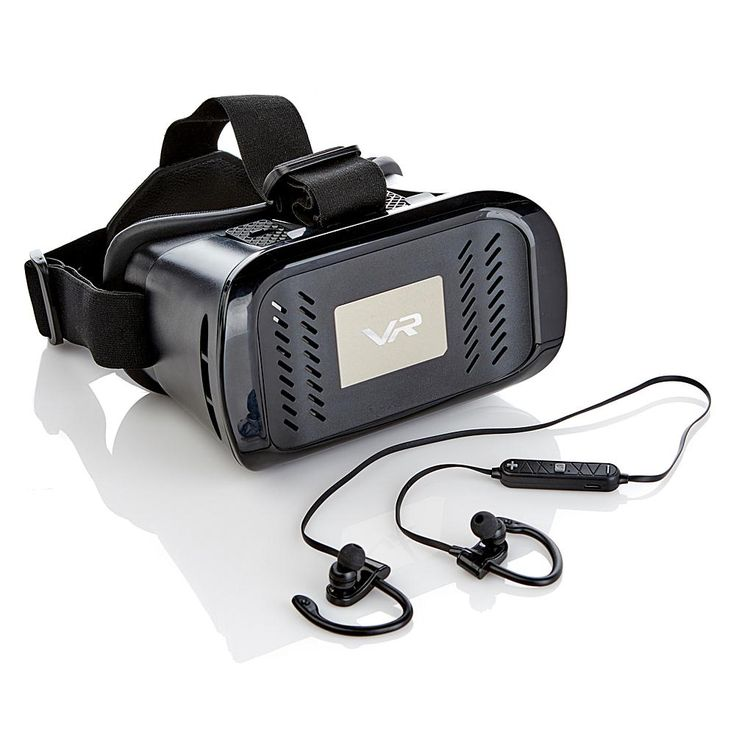PanoVR Virtual Reality Headset with Wireless Earbud Headphones - Black