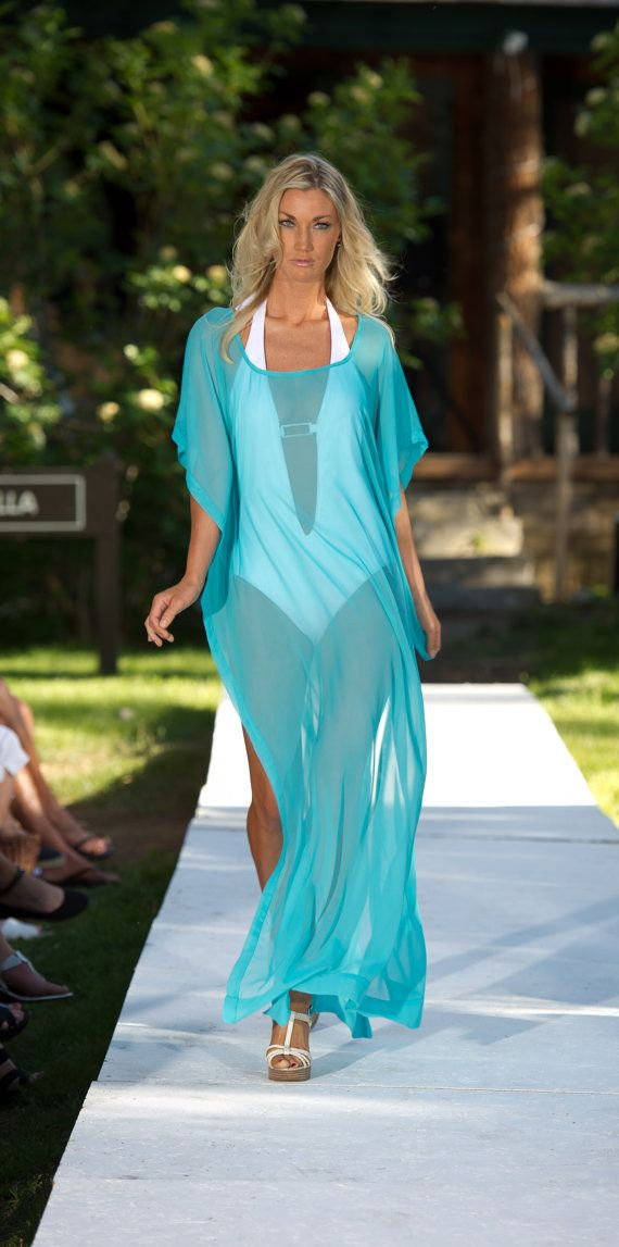Long Draped Sheer Coverup with Short Sleeves by SarahReneeDesigns, $60.00