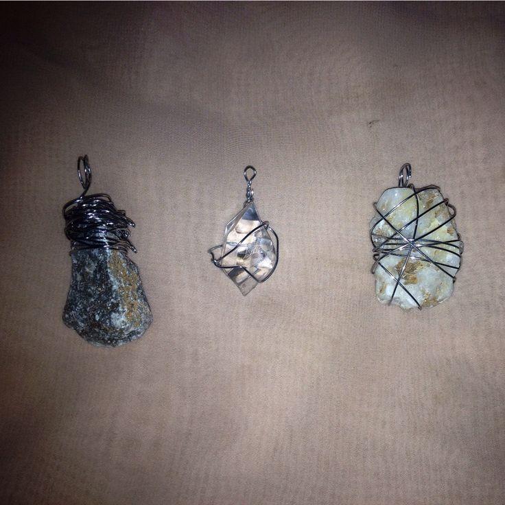 Sea glass and rocks wirewrapped pendants