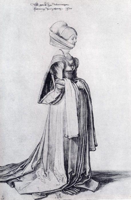'A Nürnberg Kostüm Study', wasserfarbe von Albrecht Durer (1471-1528, Germany)