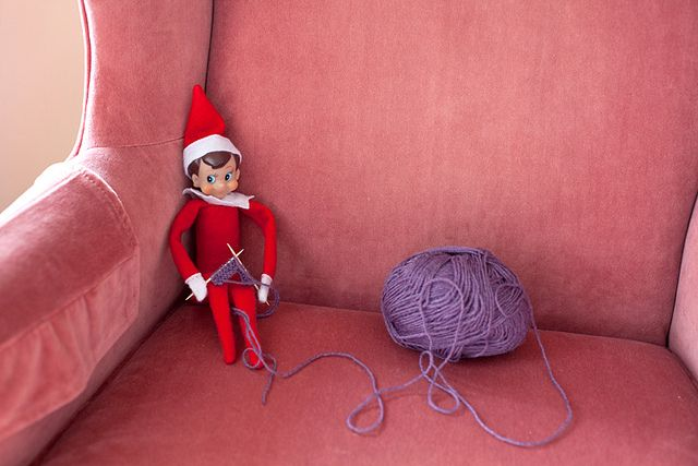 Elf On A Shelf w/toothpicks knitting...the hard part will be casting on those stitches.