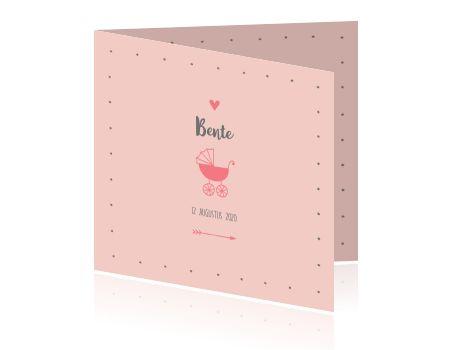 geboortekaartje meisje silhouet kinderwagen roze