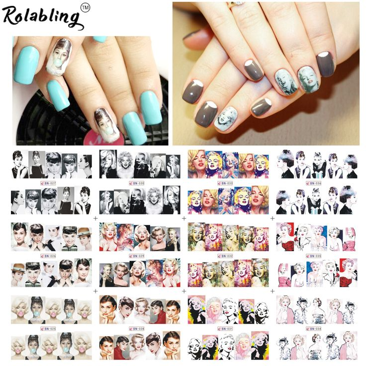 Rolabling Marilyn Monroe & Audrey Hepburn with full cover nail sticker for nail art water decals decorations for nails