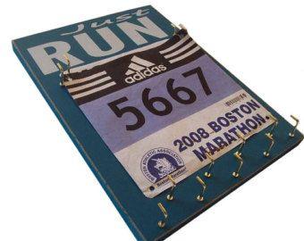 running medals hanger with running racing bibs: running Medals and bibs holder - medals and bibs hanger JUST run race bibs, medals holder