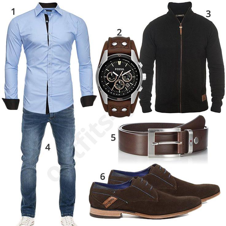 Edles Herren-Outfit mit Kayhan Hemd, Fossil Uhr, schwarzer Solid Strickjacke, Yazubi Jeans, braunem Tommy Hilfiger Gürtel und Bugatti Schuhen.