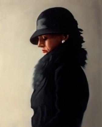 British Artist Jack Vettriano-Portrait in Black and Pearl