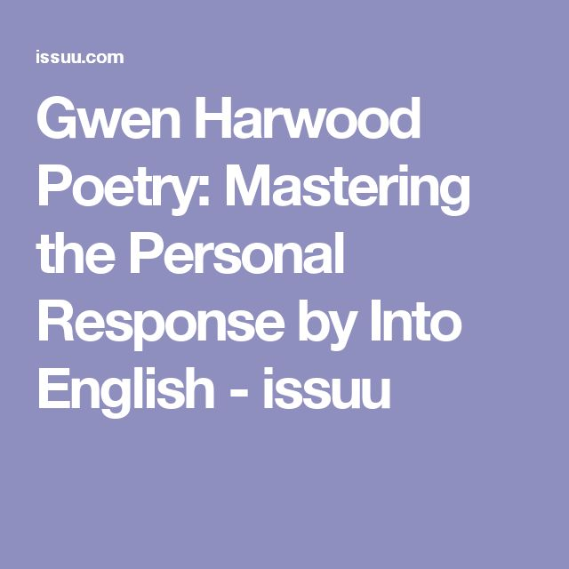 Gwen Harwood Poetry: Mastering the Personal Response by Into English - issuu