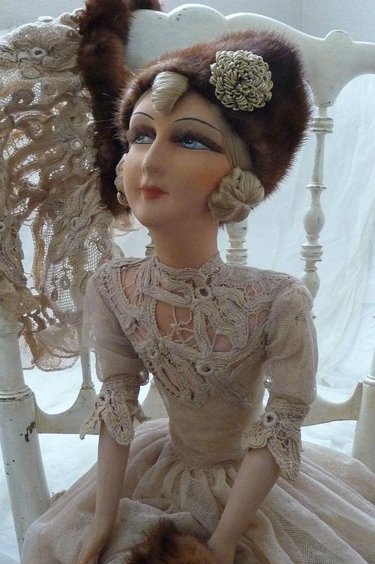 RARE Antique Boudoir Doll Russian C 1920 Lace Silk Fur Fashion Doll | eBay